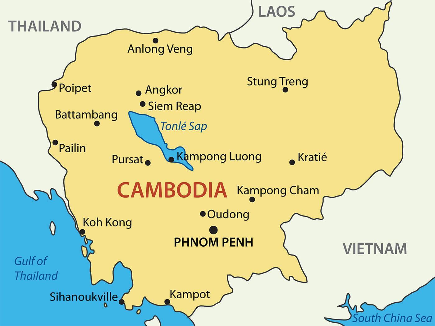 Cambodge carte de la ville - Cambodge villes de la carte ...