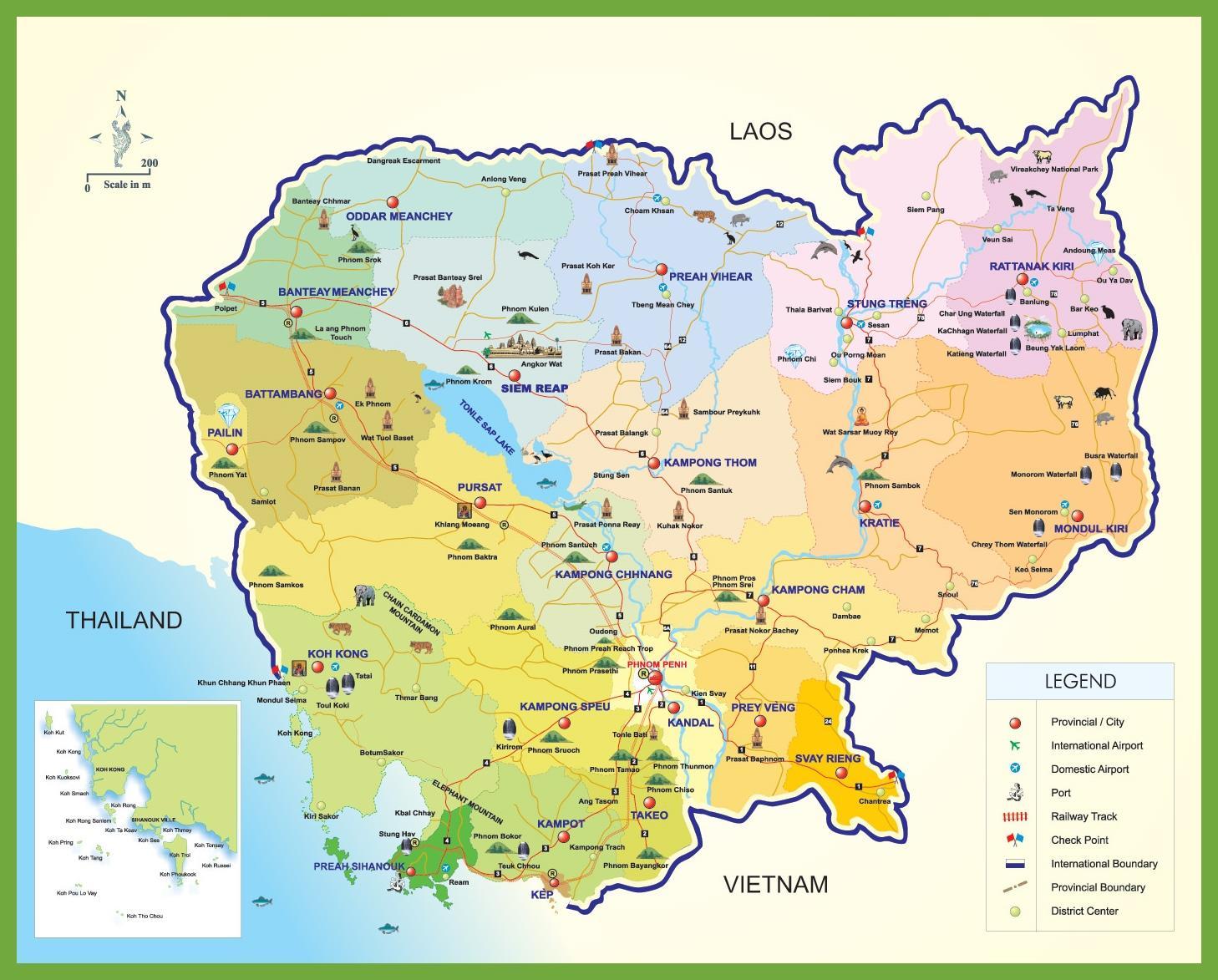 Carte Touristique Asie.Cambodge Carte Touristique Cambodge Carte De Voyage Asie