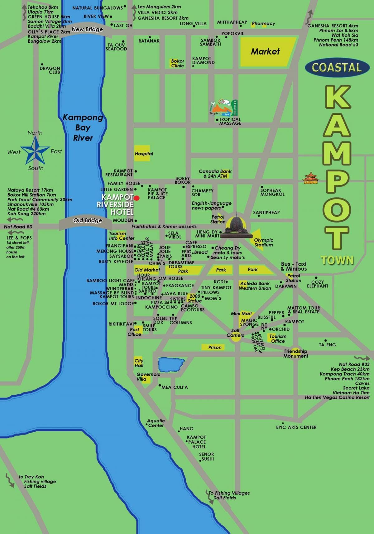 Kampot au Cambodge carte - carte de kampot au Cambodge ...